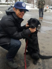 Daisy the arson-detection dog meets Ben Stiller on