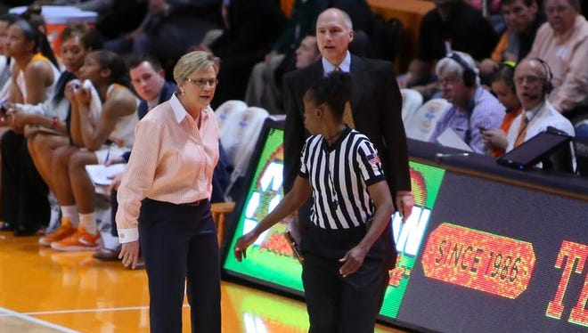 Tennessee coach Holly Warlick and assistant coach Dean Lockwood react after Warlick received a technical foul during the fourth quarter against South Carolina on Feb. 15, 2016 at Thompson-Boling Arena.