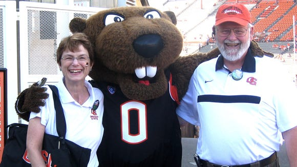 """A Beginning Beaver"" blogger Barbara Curtin, Benny Beaver and Beaver Fan Denny Miles show high hopes before the season opener against Sacramento State."