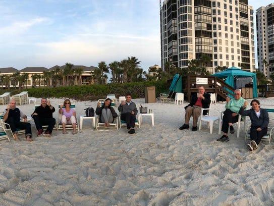 William Bain's family gathers on the Bay Colony beach