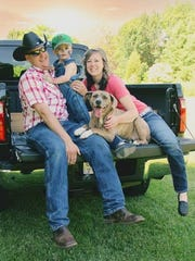 Family photo of Katherine Janet Giehll, 31; her son, Raymond Peter Giehll IV, 4; and her husband, Raymond Peter Giehll III.