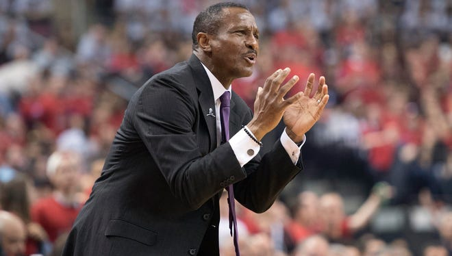 Toronto Raptors head coach Dwane Casey reacts to a call on the court during the second quarter in Game 3.