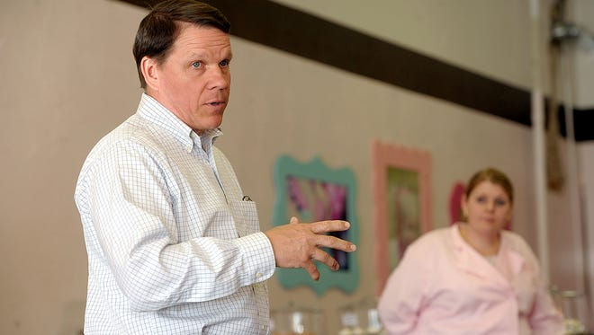 U.S. Rep. Sam Graves, chairman of the House Small Business Committee, addresses a group at the Sweet Wishes Cakery in Savannah, Mo.