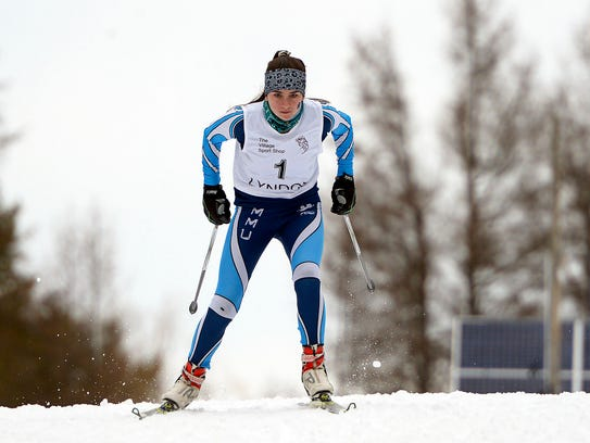 MMU's Alexandra Priganc competes in Friday's Nordic freestyle state championships.