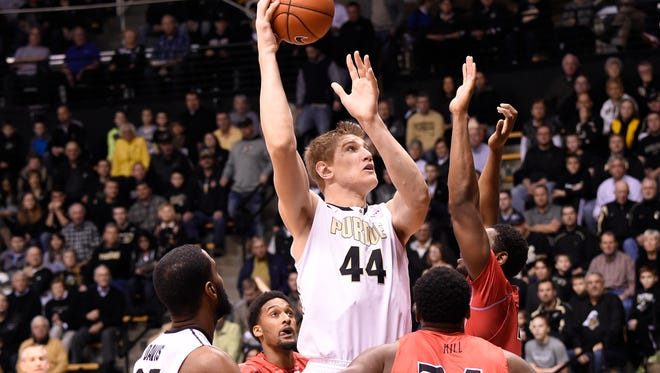 Dec 22, 2014; West Lafayette, IN, USA;  Purdue Boilermakers center Isaac Haas (44) shoots over the Gardner Webb Runnin Bulldogs defense at Mackey Arena. Mandatory Credit: Sandra Dukes-USA TODAY Sports
