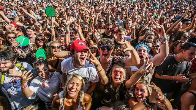 Fans rock out to Need To Breathe at Forecastle on Friday.