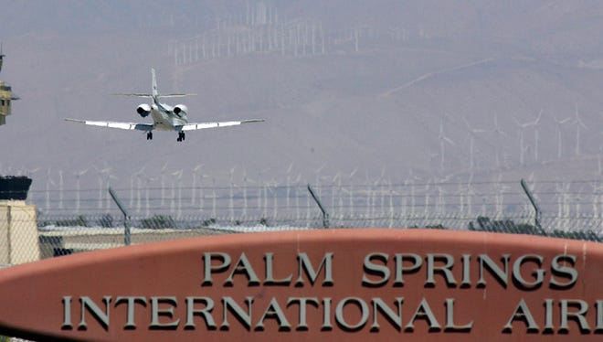 In this file photo, a passenger jet lands at the Palm Springs International Airport, on Thursday a small plane had its landing gear collapse when it landed. No one was injured.