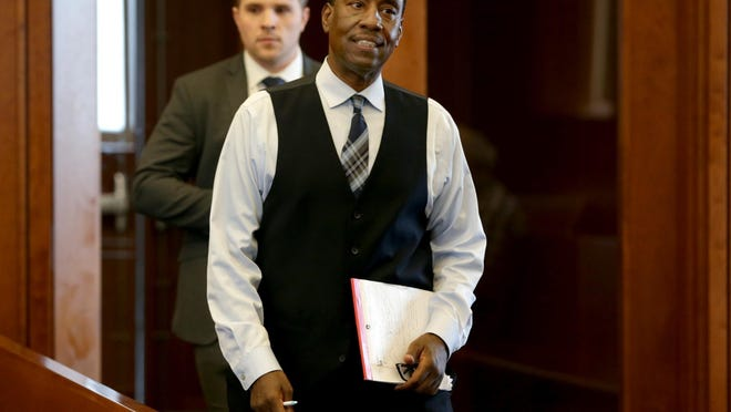 Darrell Jones enters the courtroom at the start of his murder trial on June 7, 2019, which found him innocent after spending 32 years in prison.