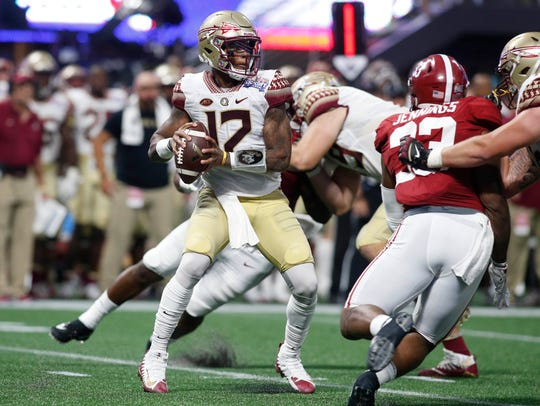 Florida State quarterback Deondre Francois looks to