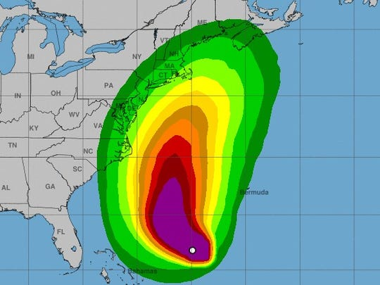 Most of New Jersey has a 10 to 20 percent chance of experiencing sustained winds of 39 mph or greater next week, according to a forecast released early this morning.
