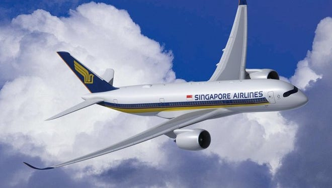 This undated rending shows an Airbus A350-900 in the colors of Singapore Airlines.