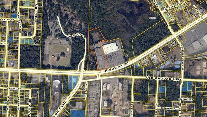 The property in orange, 6032 U.S. 90, was suggested by Santa Rosa County Property Appraiser Greg Brown as an alternative courthouse site instead of constructing in downtown Milton. The former Food World location is listed at $1.5 million.