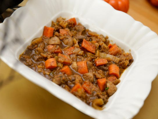 Guinness Vegetable Stew is a hearty dish for Halloween.