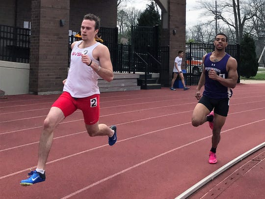 Sam Black (left) of Pinckney was sixth in the NCAA Division II track and field meet in the decathlon for Saginaw Valley State  University, earning All-America.