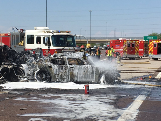 A semitruck caught fire after crashing into another