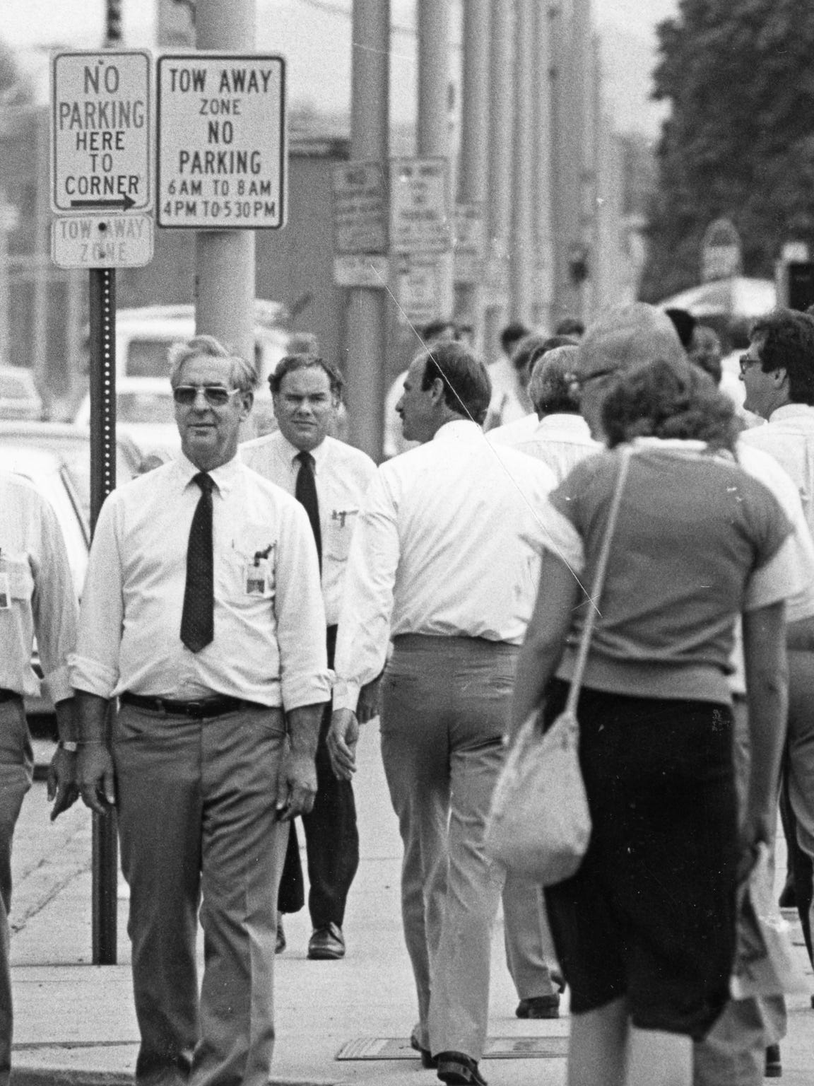 In the early 1980's, Endicott's main street with some of the 10,000 IBMers.