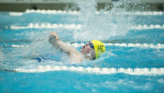 Daniel Eshelman of L&N STEM Academy swims in the Men's 200 Yard IM at the Knox-area Interscholastic Swim League finals Saturday at University of Tennessee's Allan Jones Aquatic Center.