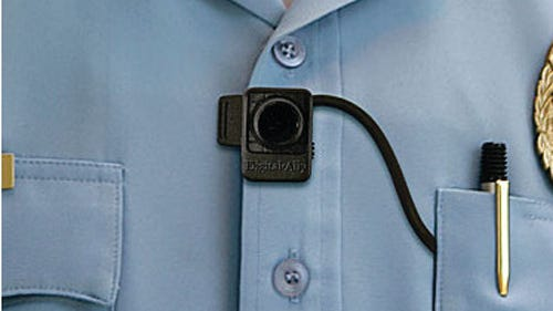 The Cincinnati Police Department reports its test of body cameras on officers is a success and that the devices will be deployed on all the force's uniformed officers. This body camera is less than 2 inches long.
