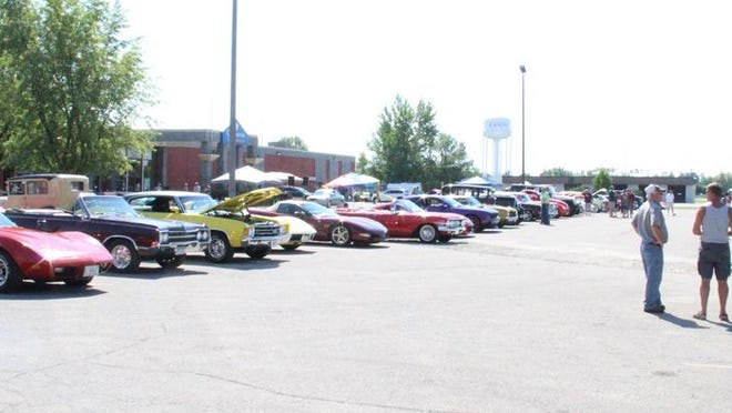 Cars parked at the Crookston Inn during Saturday's Classic Cruisers Car Show