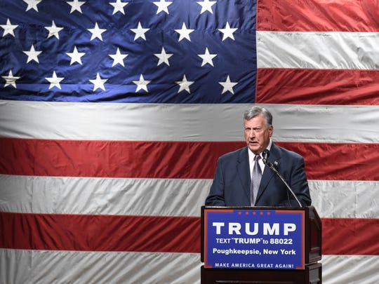 Dutchess County Sheriff, Butch Anderson speaks during the Donald Trump rally at the Mid-Hudson Civic Center on Sunday.