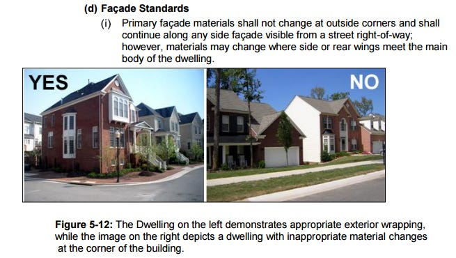 A page from Franklin's zoning ordinance that deals with facade standards for homes. If HB476/SB520 passes, cities will be prohibited from having these types of standards via ordinance.