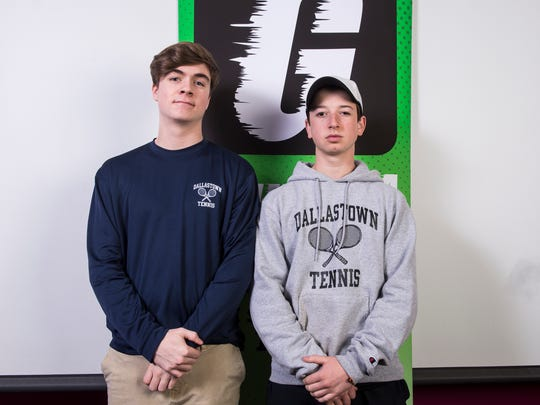 Members of the Dallastown boys' tennis team strike a pose in the GameTimePA photo booth during spring sports media day in York on Sunday, March 4, 2018.