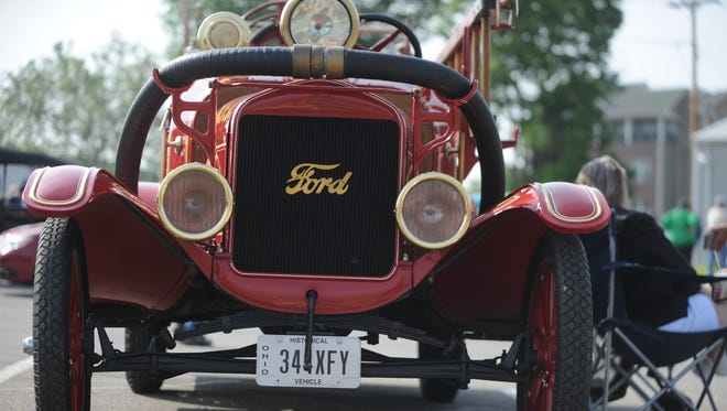 A Model T Ford firetruck is parked Friday at the Model T Museum in Richmond prior to Saturday's Homecoming event.