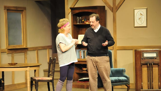 Katy Esmont and Steve Russell rehearse a scene from You Say Tomatoes at the Mansfield Play House.