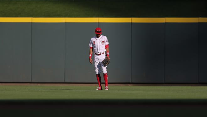 Cincinnati Reds center fielder Billy Hamilton (6) gets in position in center field in the first inning during a National League baseball between the Milwaukee Brewers and the Cincinnati Reds, Friday, June 29, 2018, at Great American Ball Park in Cincinnati.