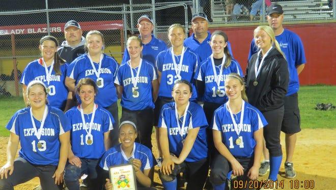 The Blue Ridge Explosion 18U softball team.