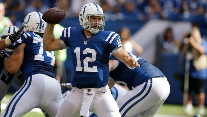 Colts quarterback Andrew Luck threw for 393 yards and four touchdowns against the Titans on Sunday.