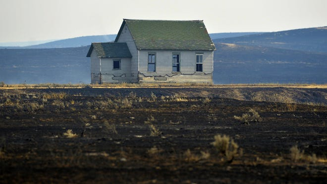 The Calf Creek School House in Sand Springs, Mont.was saved from the Lodgepole Complex Fire, which burned more than 270,000 acres in Garfield and Petroleum Counties.