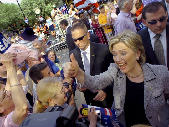 Hillary Clinton mixes with the crowd at Beaver and