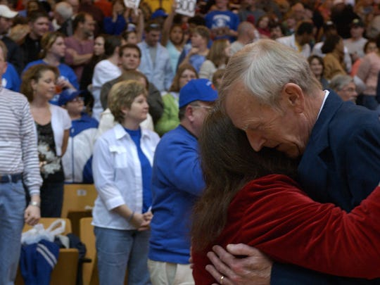 Paul and Judy Hatcher celebrate his 800th career victory Saturday, March 4, 2006