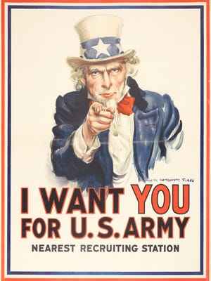 James Montgomery Flagg  (1877–1960) created the iconic 'I Want YOU for U.S. Army, Nearest Recruiting Station' recruitment poster in 1917.