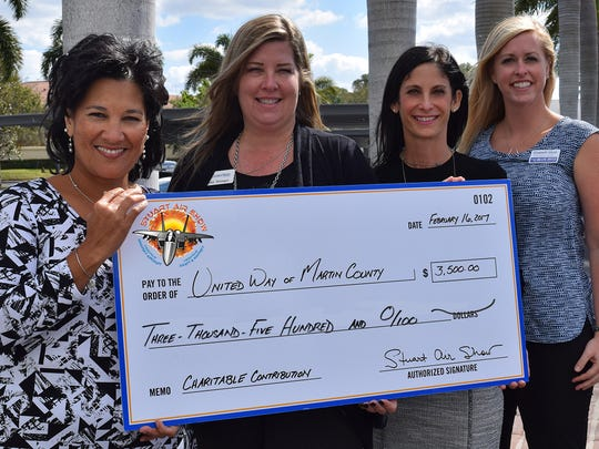 Check presentation to Stuart Air Show charitable partner, United Way of Martin County