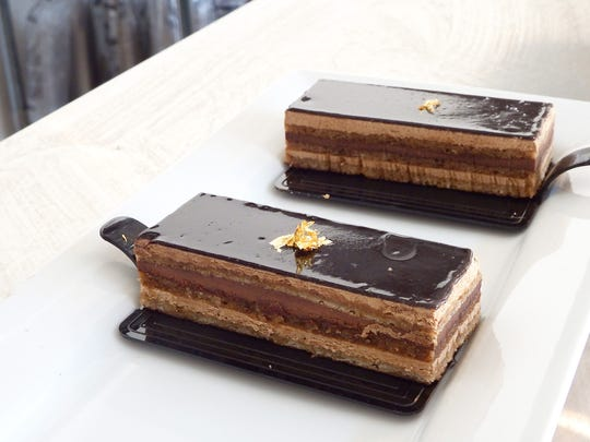 A l'opera layer cake at the new Cliche Patisserie bakery in Iowa City.