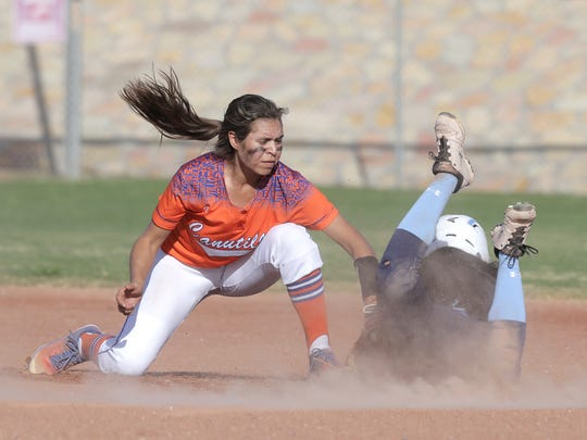 Canutillo short stop Briana Rodriguez can't tag Chapin's Trish Burgos in time at second during their game Tuesday at Canutillo High School.