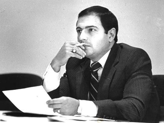 Thomas Libous listens at a City Councel meeting in Binghamton in October 1985.