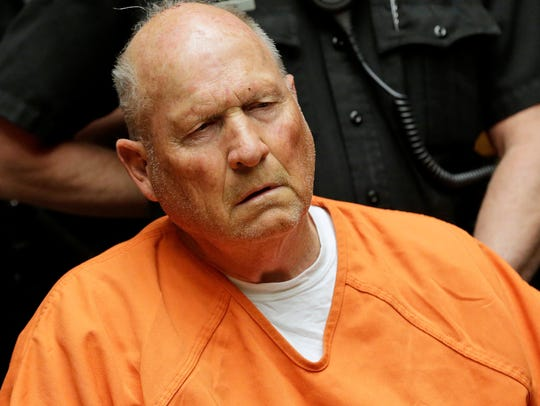 Joseph James DeAngelo, 72, who authorities suspect is the so-called Golden State Killer responsible for at least a dozen murders and 50 rapes in the 1970s and 80s, is pictured in Sacramento County Superior Court in Sacramento, Calif. Law enforcement used a third-party DNA company to link DeAngelo to the crimes.