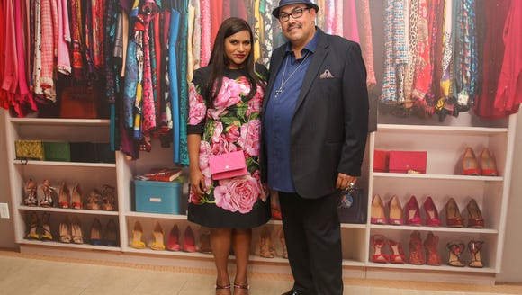 Costume designer Salvador Perez and Mindy Kaling attend
