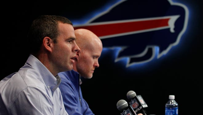 Buffalo Bills general manager Brandon Beane, left and head coach Sean McDermott address the media.