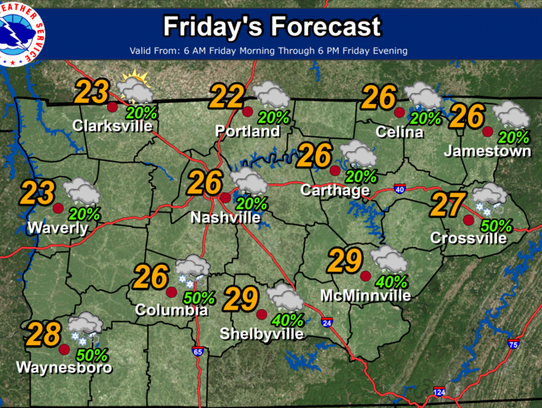 Weather for Friday, Jan. 7, 2017.