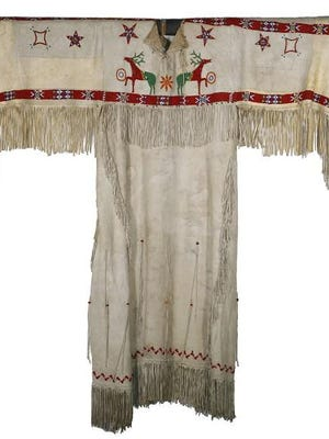 A circa 1900 Native American Plains beaded deerskin dress will be up for auction at virtual Thomaston Place Auction Galleries live auction July 18 and 19.