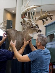Displays are hung during the Buckmasters Expo in Montgomery,