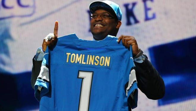 Laken Tomlinson (Duke) is selected as the number twenty-eight overall pick to the Detroit Lions in the first round of the 2015 NFL Draft at the Auditorium Theatre of Roosevelt University.