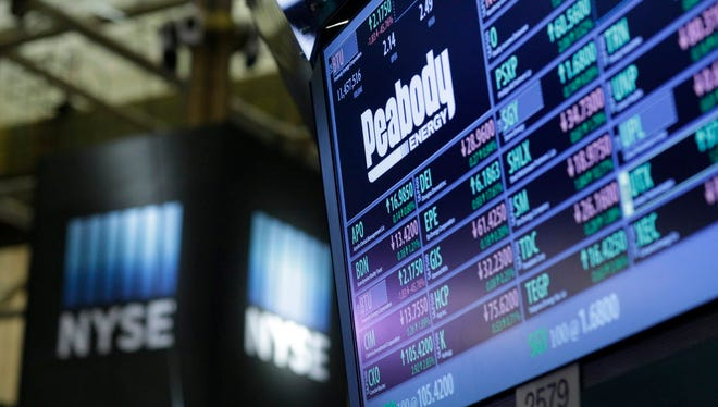A Peabody Energy logo on a screen at the New York Stock Exchange (NYSE) at the close of the trading day in New York, New York, USA.