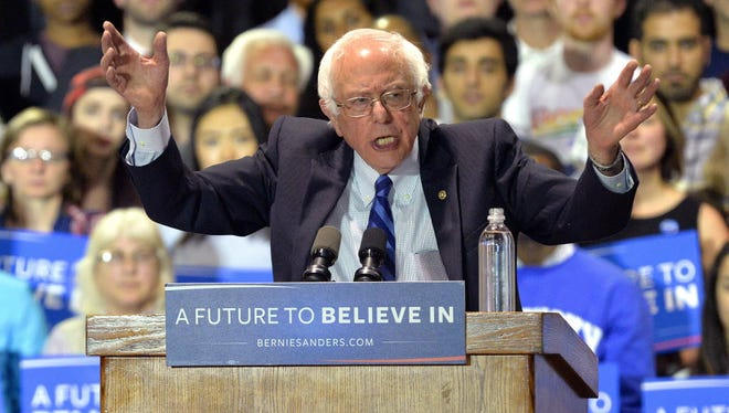 Bernie Sanders speaks to supporters at the Lexington Convention Center on May 4, 2016, in Lexington Ky.
