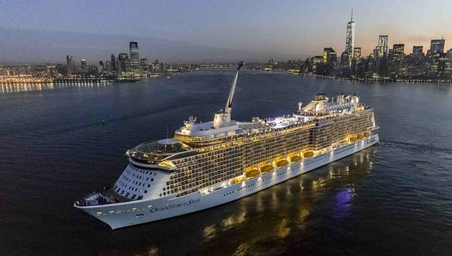 Royal Caribbean cruise line's new Quantum of the Seas ship sails into New York Harbor after completing its first trip across the Atlantic.
