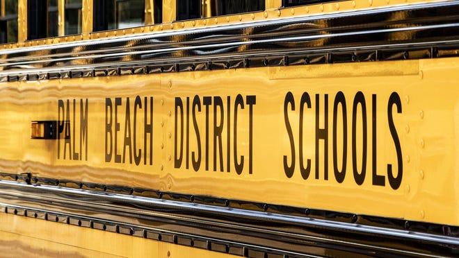 Palm Beach County school bus in West Palm Beach, Friday, March 13, 2020.